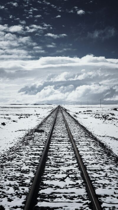 Rail tracks leading into the distance